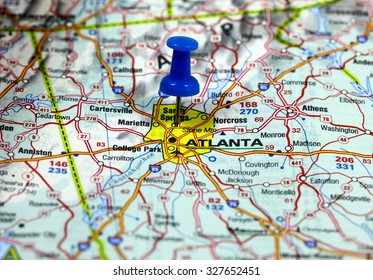 map with pin point of atlanta in usa
