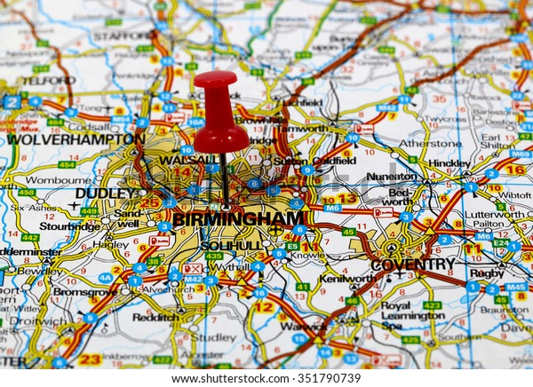 Map Of England Birmingham.Map Pin Point Birmingham England Stock Photo Edit Now 351790739