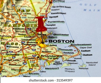 map with pin point of boston in usa