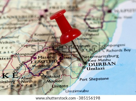 Map Pin Point Durban South Africa Stock Photo Edit Now 385156198