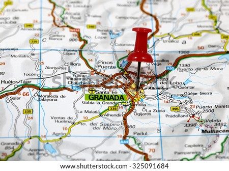 Map Of Spain Granada.Map Pin Point Granada Spain Stock Photo Edit Now 325091684