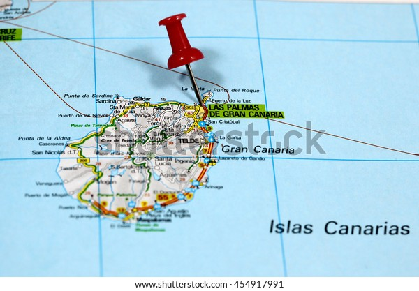 Map Of Spain Gran Canaria.Map Pin Point Las Palmas On Stock Photo Edit Now 454917991