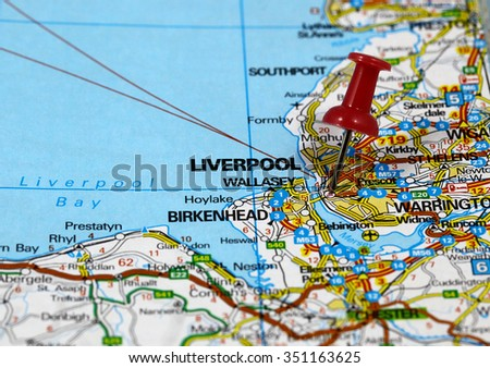 Map Of England Liverpool.Map Pin Point Liverpool England Stock Photo Edit Now 351163625