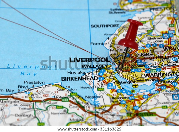 Map Pin Point Liverpool England Stock Photo (Edit Now) 351163625