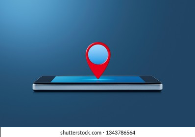 Map pin point location button on modern smart mobile phone screen on wooden table over gradient light blue background, Map pointer navigation online concept
