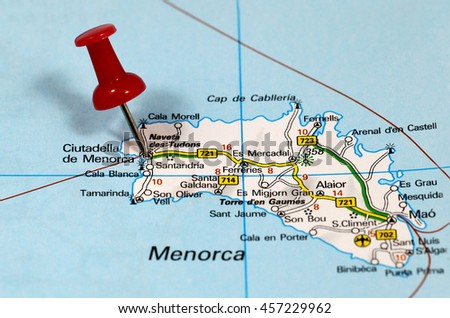 Map Pin Point Menorca Spain Stock Photo Edit Now 457229962