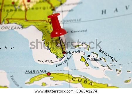 Map Pin Point Miami Florida Usa Stock Photo Edit Now 506541274