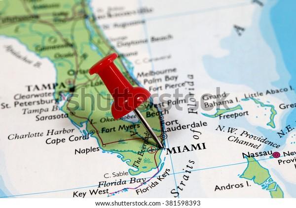 miami florida usa map Map Pin Point Miami Florida Usa Stock Photo Edit Now 381598393 miami florida usa map