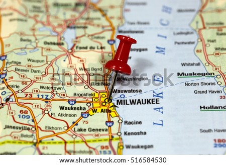 Map Pin Point Milwaukee Wisconsin Usa Stock Photo Edit Now