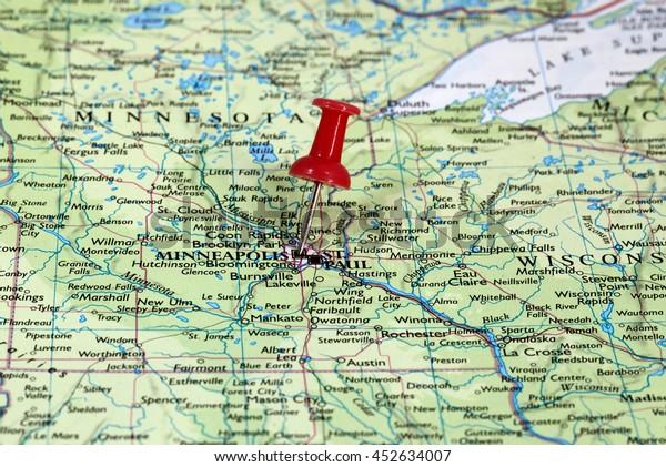 Map Pin Point Minneapolis Minnesota Usa Stock Photo (Edit ...