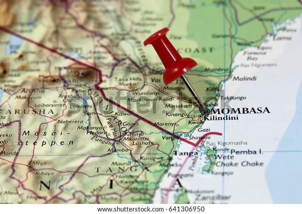 Map Pin Point Mombasa Kenya Africa Stock Photo (Edit Now ...