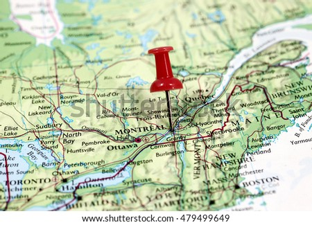 Canada Map Montreal.Map Pin Point Montreal Canada Stock Photo Edit Now 479499649