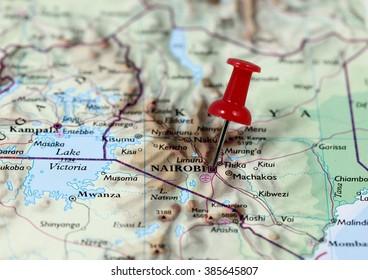 Map with pin point of Nairobi in Kenya