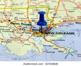 map with pin point of new orleans in usa