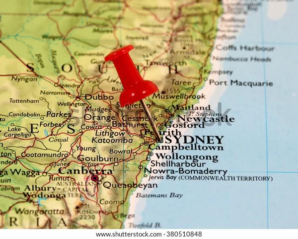 Sydney On Australia Map.Map Pin Point Sydney Australia Stock Photo Edit Now 380510848