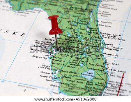 Tampa Florida Usa Map.Map Pin Point Tampa Florida Usa Stock Photo Edit Now 451062880