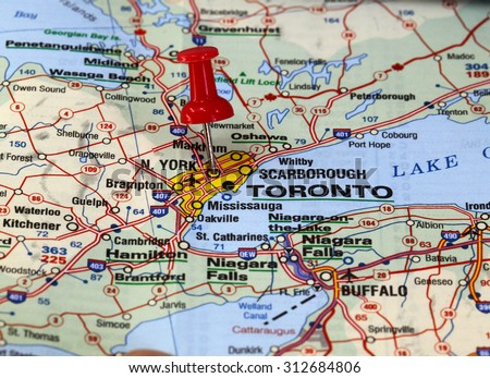 Map Pin Point Toronto Canada Stock Photo Edit Now 312684806