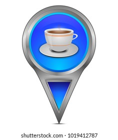 Map pointer with a Cup of Coffee - illustration