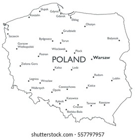 Map of Poland   Monochrome contour map with city names