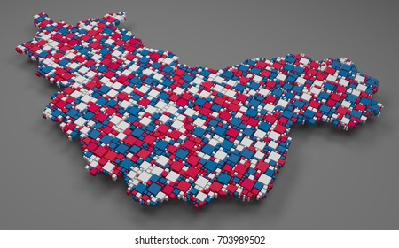Map of the province of Champagne - France   3d mosaic of little bricks