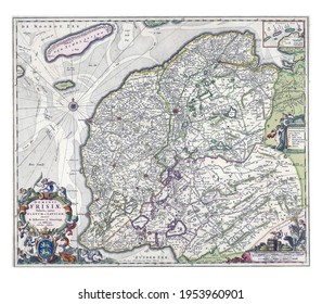 Map of the province of Friesland, vintage engraving.