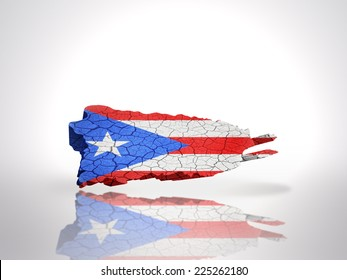 Map of Puerto Rico with Puerto Rican Flag on a white background