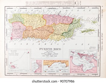 Puerto rico map images stock photos vectors shutterstock a map of puerto rico from spoffords atlas of the world printed in the united gumiabroncs Choice Image