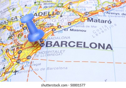 Map push pin suggesting destination Barcelona