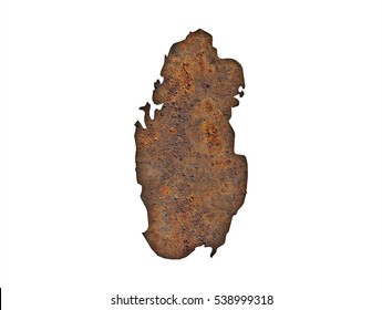 Map of Qatar on rusty metal