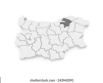 Map of Razgrad region. Bulgaria. 3d