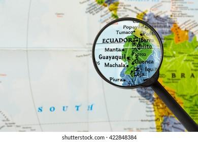 map of Republic of Ecuador through magnifying glass