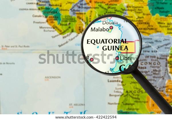 Map of Republic of Equatorial Guinea through magnigying glass