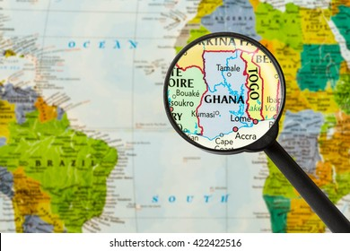 Map of Republic of Ghana through magnigying glass
