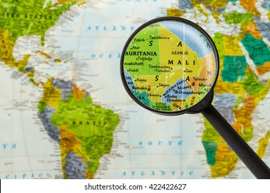 Map of Republic of Mali through magnigying glass