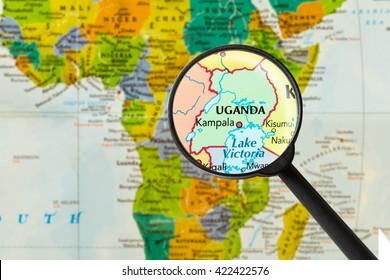 Map of Republic of Uganda through magnigying glass