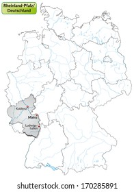 Map of Rhineland-Palatinate with main cities in gray