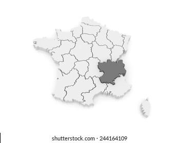 Map of Rhone - Alpes. France. 3d