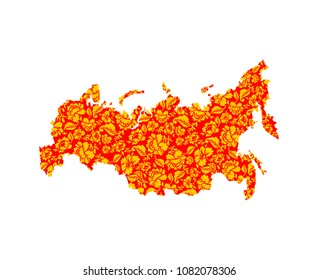 Map of Russia folk Traditional Khokhloma painting. National Russian territory land