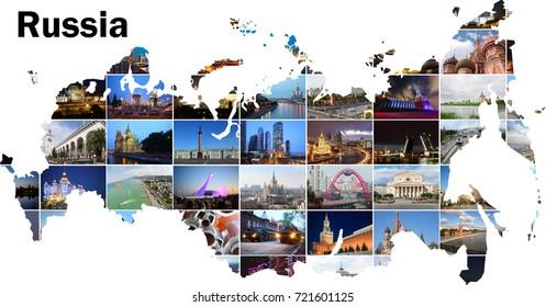 Map with Russia views - Moscow, Saint Petersburg, Sochi, Samara landmarks
