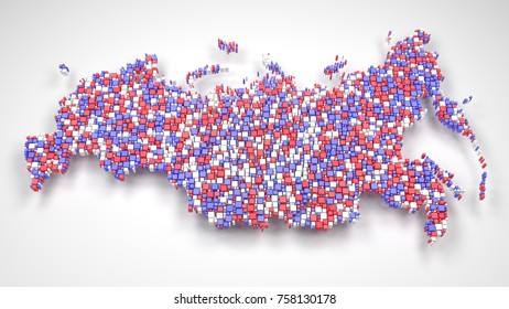Map of Russian Federation - Eurasia   3d mosaic of little bricks - Flag colors