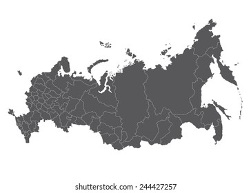 Map of Russian Federation on white background