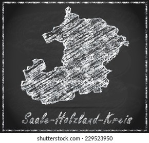 Map of Saale-Holzland-Kreis as chalkboard  in Black and White