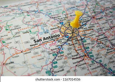 A map of San Antonio, Texas marked with a push pin.