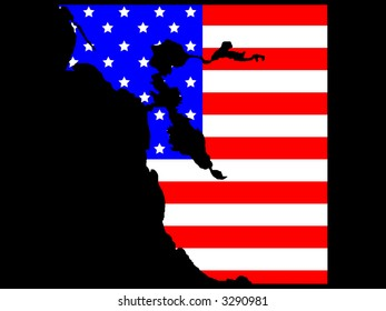 map of San Francisco Bay area and American flag illustration