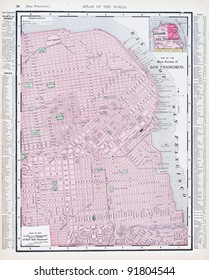 A map of San Francisco, California, USA from Spofford's Atlas of the World, printed in the United States in 1900, created by Rand McNally & Co.