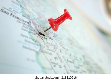 Map of San Jose, Silicon Valley area of California, with red push pin
