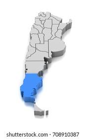 Map of Santa Cruz Province, Argentina. 3d illustration