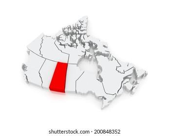 Map of Saskatchewan. Canada. 3d