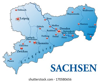 Map of Saxony as an overview map in blue