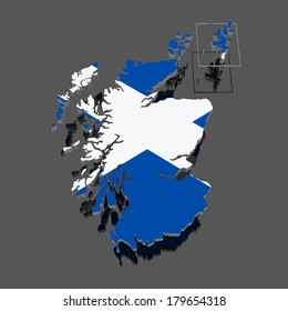 Map of Scotland. 3d